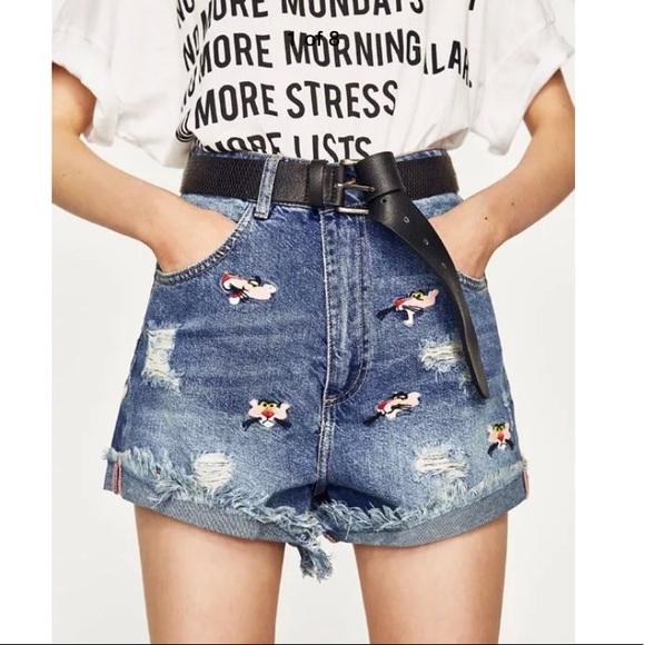 3ccafafeda Zara size 6 Pink Panther cut off denim jean shorts.  M_5afc45449cc7efa70fd95f5b